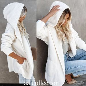 New Faux Fur Sherpa Hoodie Jacket Coat Cardigan OS